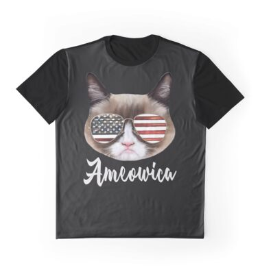Ameowica - 4th Of July - Independence Day - T Shirts - Mugs - Clocks - Totes - Bags - Tank Top - Dress - Sticker - Case (white text)