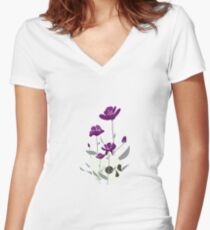 Skull with Flowers Fitted V-Neck T-Shirt