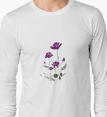 Skull with Flowers Long Sleeve T-Shirt