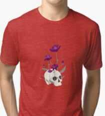 Skull with Flowers Tri-blend T-Shirt