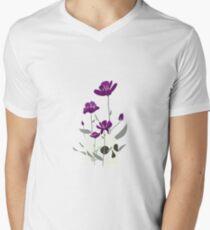 Skull with Flowers V-Neck T-Shirt