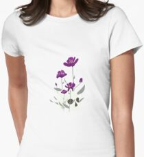 Skull with Flowers Fitted T-Shirt