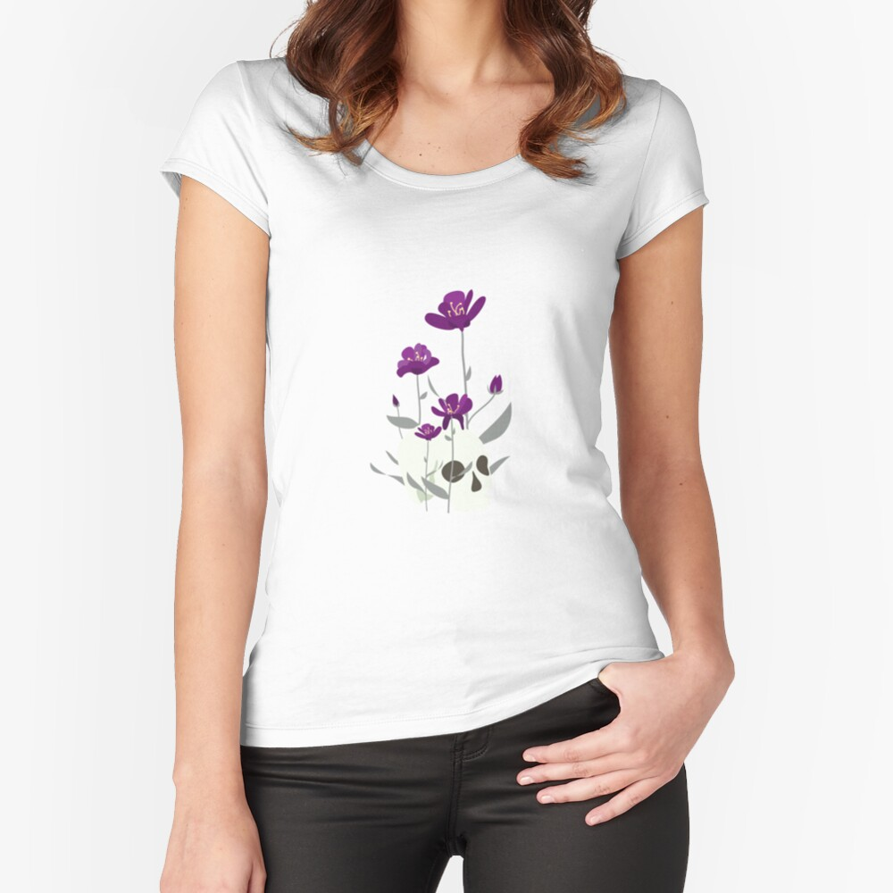 Skull with Flowers Fitted Scoop T-Shirt