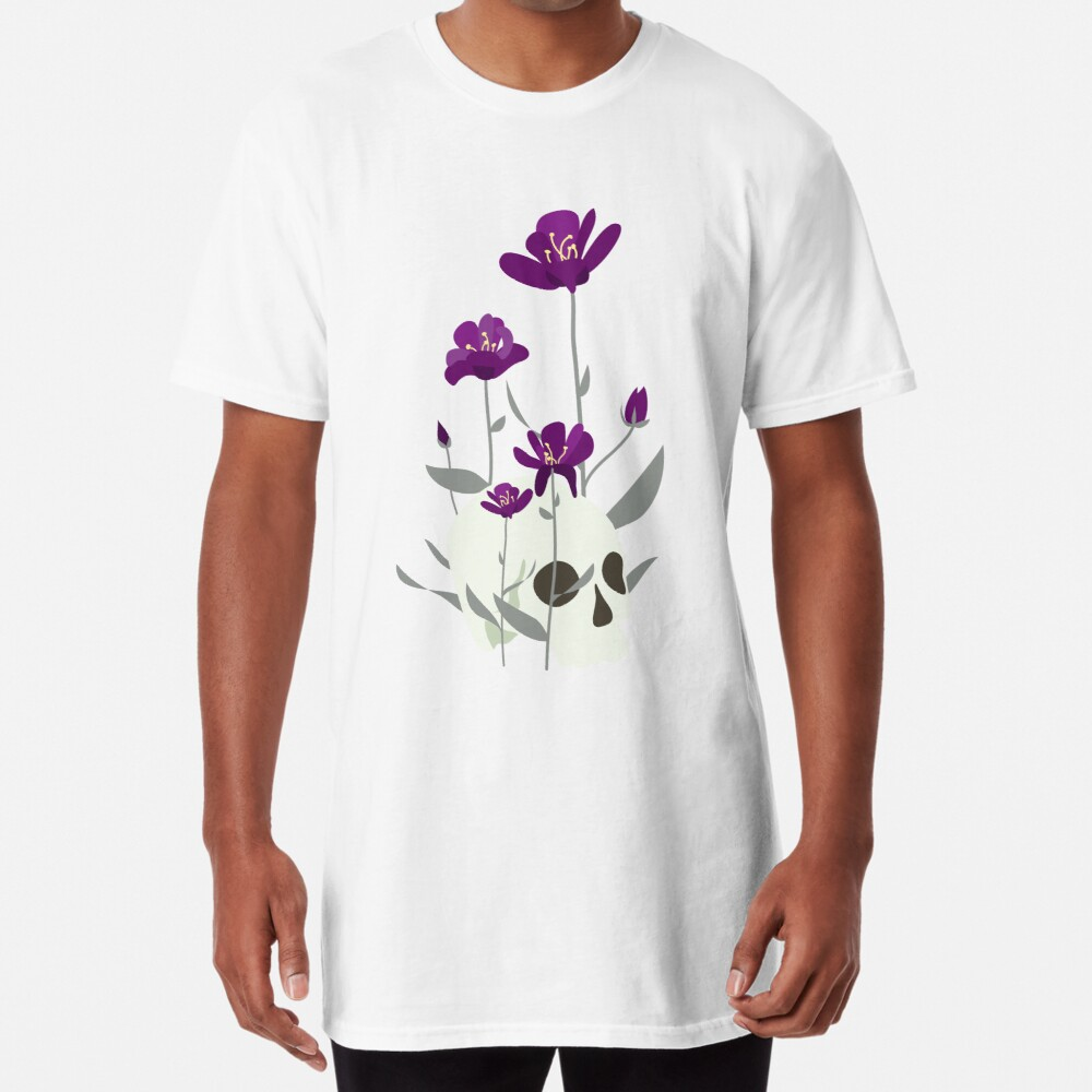 Skull with Flowers Long T-Shirt