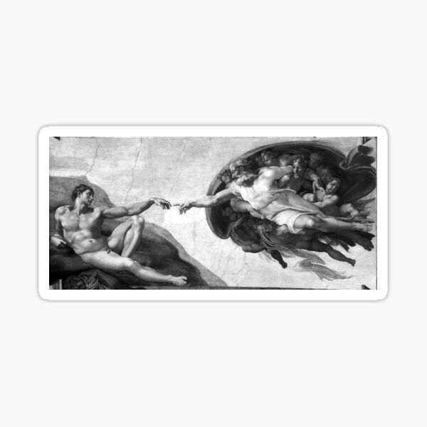 Black and White Creation of Adam Painting by Michelangelo Sistine Chapel Sticker