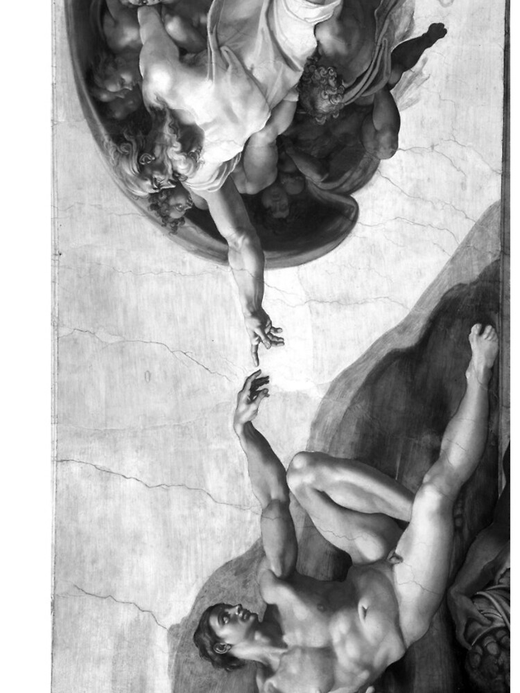 Black and White Creation of Adam Painting by Michelangelo Sistine Chapel by podartist