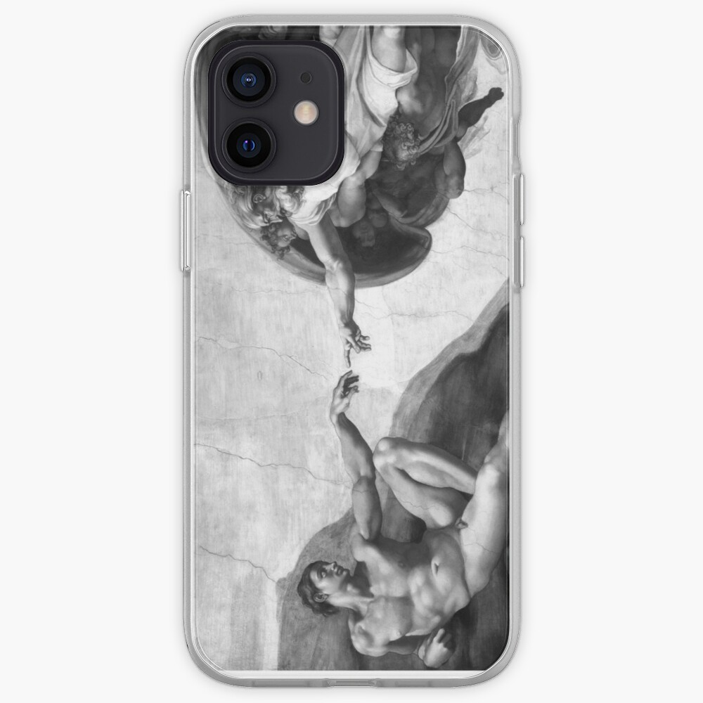 Black and White Creation of Adam Painting by Michelangelo Sistine Chapel iPhone Case & Cover