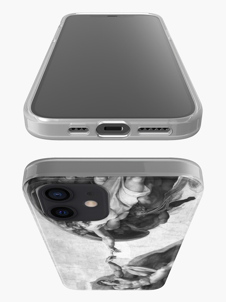 Alternate view of Black and White Creation of Adam Painting by Michelangelo Sistine Chapel iPhone Case & Cover