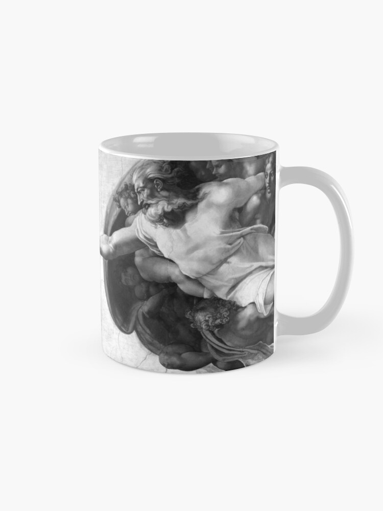 Alternate view of Black and White Creation of Adam Painting by Michelangelo Sistine Chapel Mug