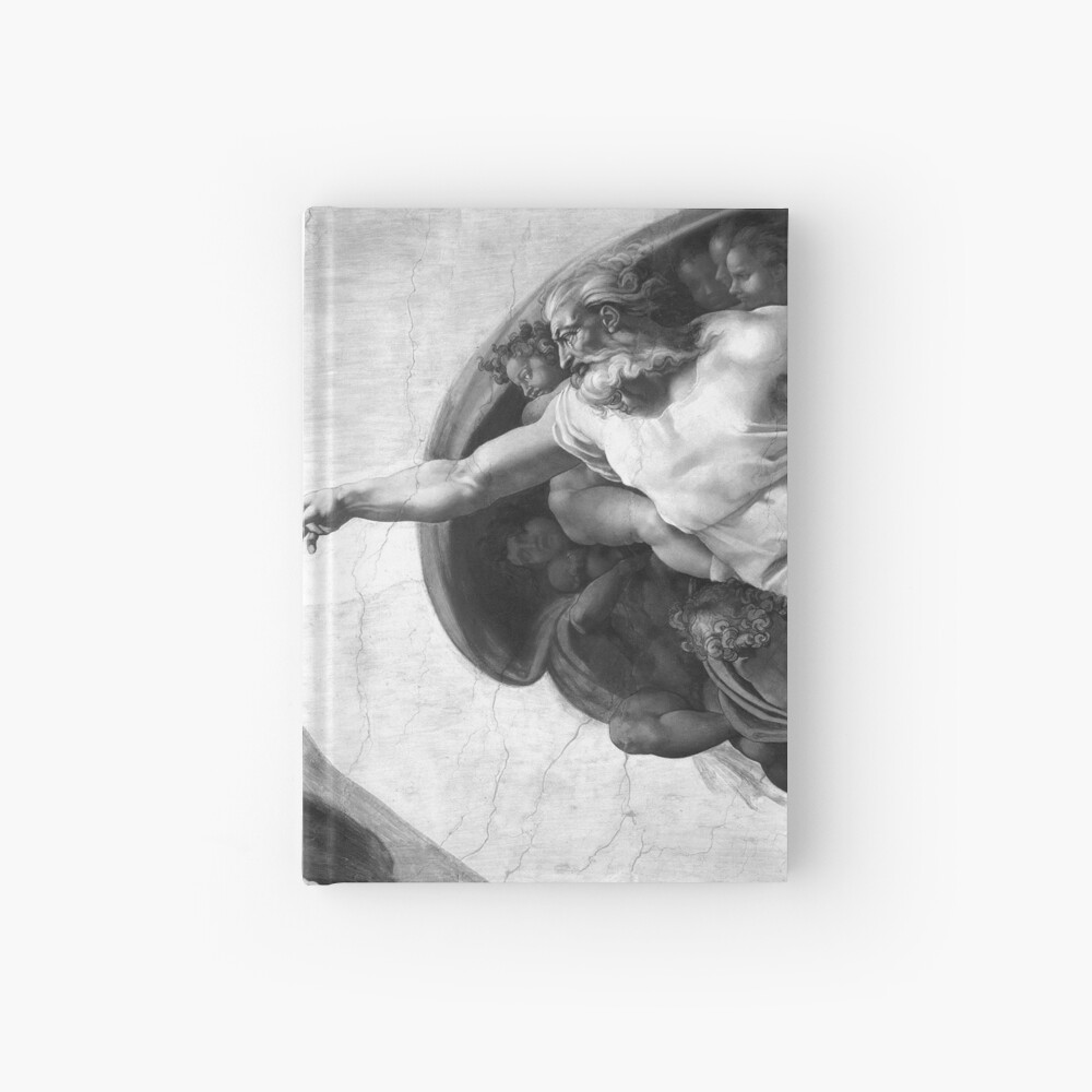 Black and White Creation of Adam Painting by Michelangelo Sistine Chapel Hardcover Journal