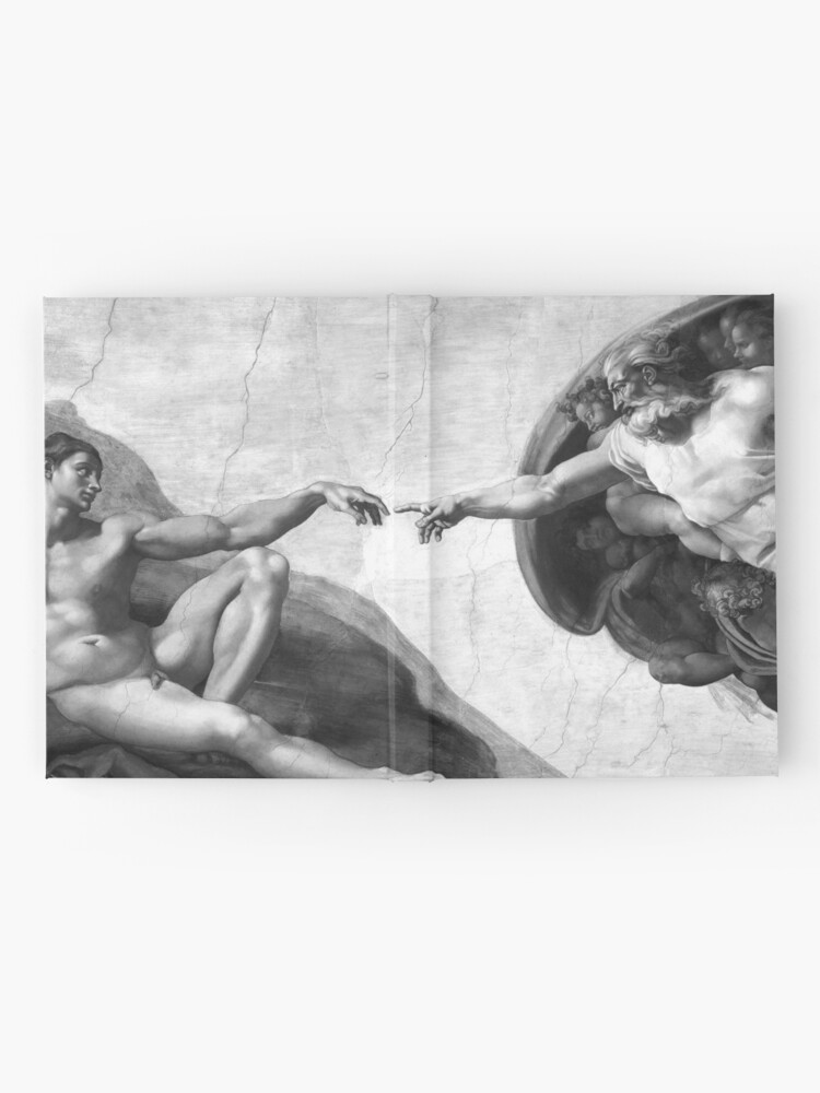 Alternate view of Black and White Creation of Adam Painting by Michelangelo Sistine Chapel Hardcover Journal