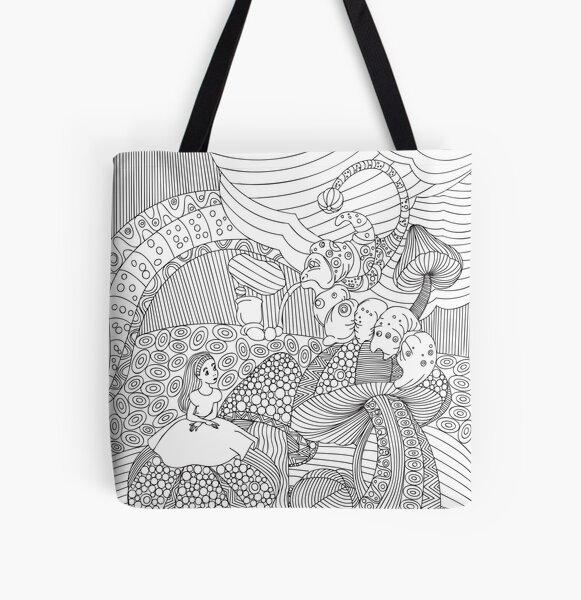 ALICE IN WONDERLAND Pop Art All Over Print Tote Bag