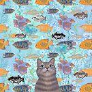 The fish thief - cute cat aqua pattern by Andreea Dumez