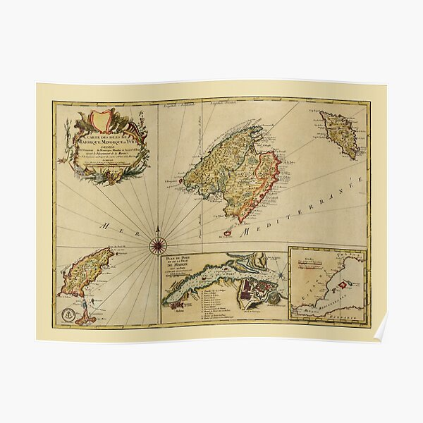 Map Of Majorca 1756 Poster