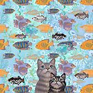 Two tabby cats and a fish tank by Andreea Dumez