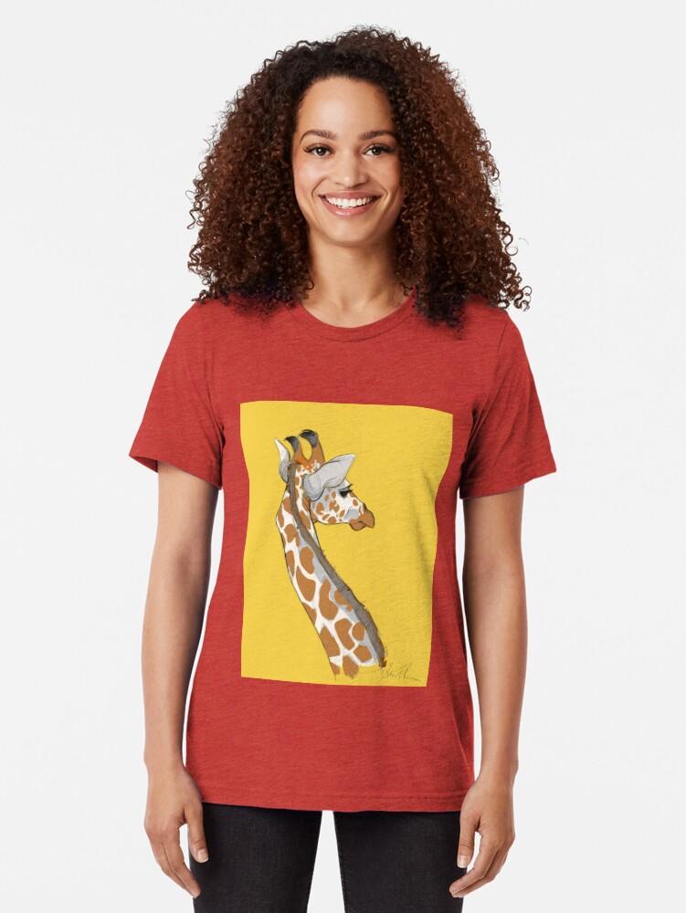 Alternate view of Giraffe Tri-blend T-Shirt