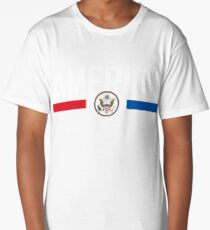 America Flag Colors & Coat Of Arms Long T-Shirt