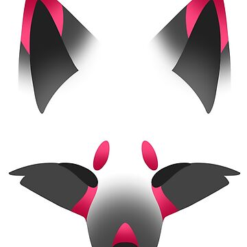 Pink Kitsune on White by SpindleSpice