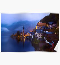 Beautiful Village of Hallstatt Austria at Twilight Poster