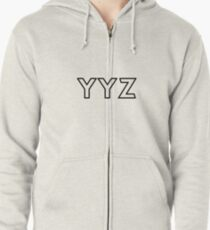 YYZ • MISSISSAUGA, ONTARIO AIRPORT • BLACK • OUTLINE Zipped Hoodie