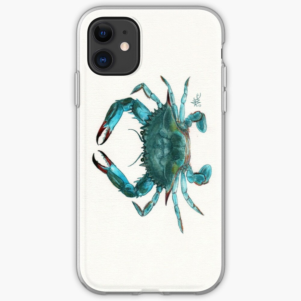 """Blue Crab"" by Amber Marine, watercolor painting, © 2013 iPhone Soft Case"