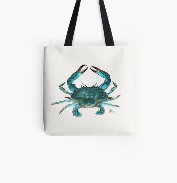 """Blue Crab"" by Amber Marine, watercolor painting, © 2013 All Over Print Tote Bag"