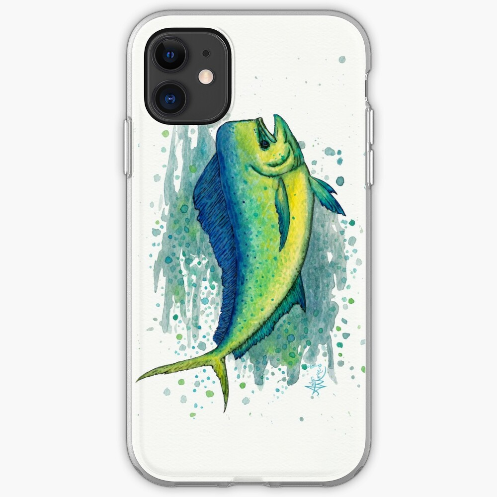 """Mahi Mahi Splash"" by Amber Marine ~ watercolor & ink dolphin fish / dorado painting, art © 2016 iPhone Soft Case"
