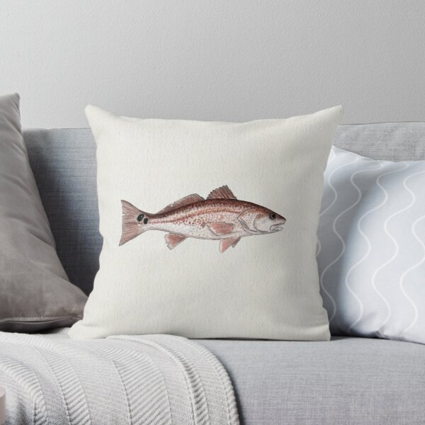 """Redfish"" by Amber Marine ~ watercolor fish art, © 2013 Throw Pillow"