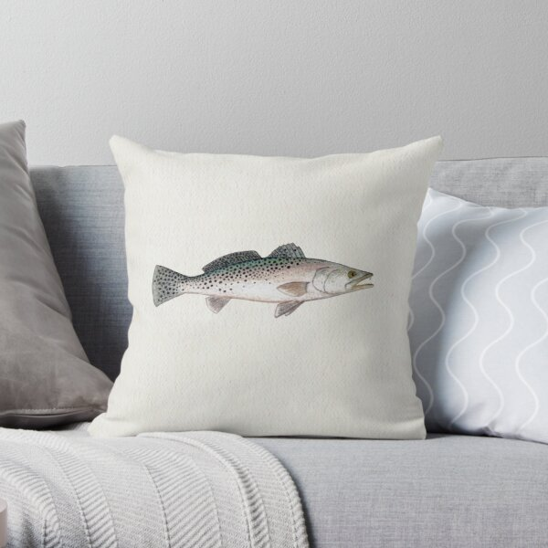 """Spotted Seatrout"" by Amber Marine ~ watercolor fish art, © 2013 Throw Pillow"