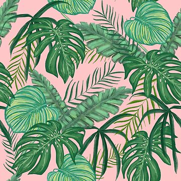 Pretty Pink & Tropical Greenery Pattern by crazycanonmom