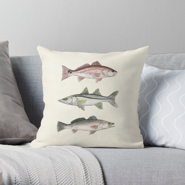 """Inshore Slam""  by Amber Marine ~ watercolor redfish, snook, and trout art, © 2013 Throw Pillow"