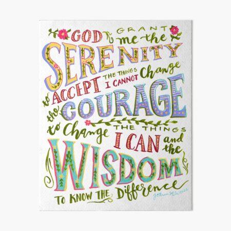 Serenity Prayer Hand Lettered Art Board Print