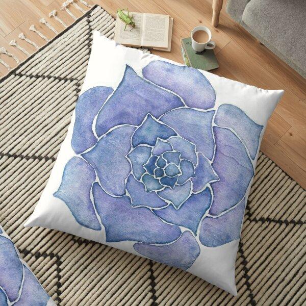 Purple Watercolor Succulent Floor Pillow