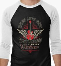 When Life Gets Complicated I Play Guitar Men's Baseball ¾ T-Shirt
