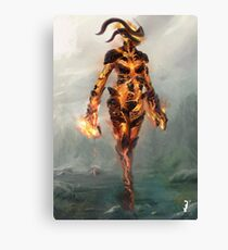 Skyrim Flame Atronach Alternative Fan Art Poster Canvas Print