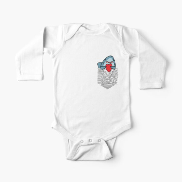Funny Shark In The Pocket, Shark Heart, Matching Tee And Phone Cases And More Other Gift Long Sleeve Baby One-Piece
