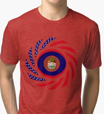 Belizean American Multinational Patriot Flag Series Tri-blend T-Shirt