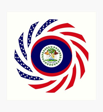 Belizean American Multinational Patriot Flag Series Art Print
