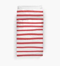 Red hand drawn stripes  Duvet Cover