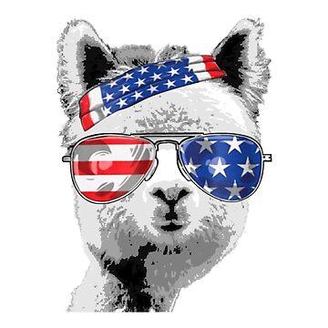 USA Independece Day Flag Sunglasses Bandana Llama by Flaudermoon
