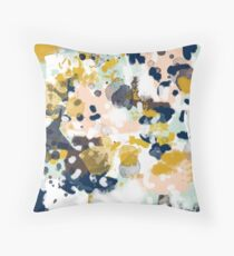 Sloane - Abstract painting in free style navy, mint, gold, white, and turquoise  Throw Pillow