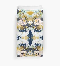 Sloane - Abstract painting in free style navy, mint, gold, white, and turquoise  Duvet Cover