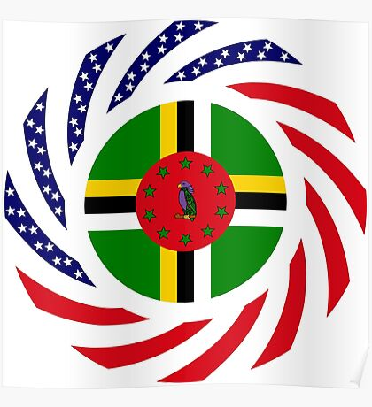 Dominica American Multinational Patriot Flag Series Poster