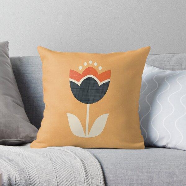 Retro Tulip - Orange and Cream Throw Pillow