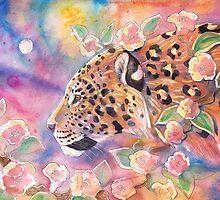 Leopard With Blossom 2 by Dawn Paws