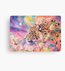 Leopard With Blossom 2 Canvas Print
