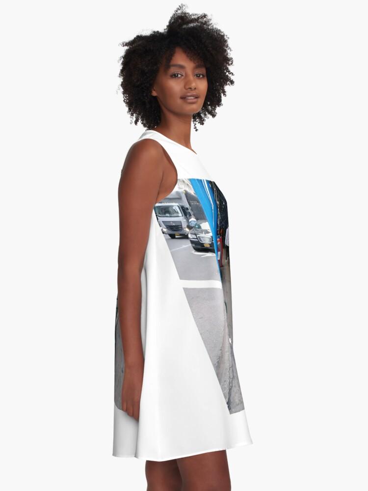 Alternate view of Curb, #Curb, #59Street #CityHall, pattern, design, tracery, weave, #pattern, #design, #tracery, #weave, New York, #NewYork, Manhattan, #Manhattan A-Line Dress