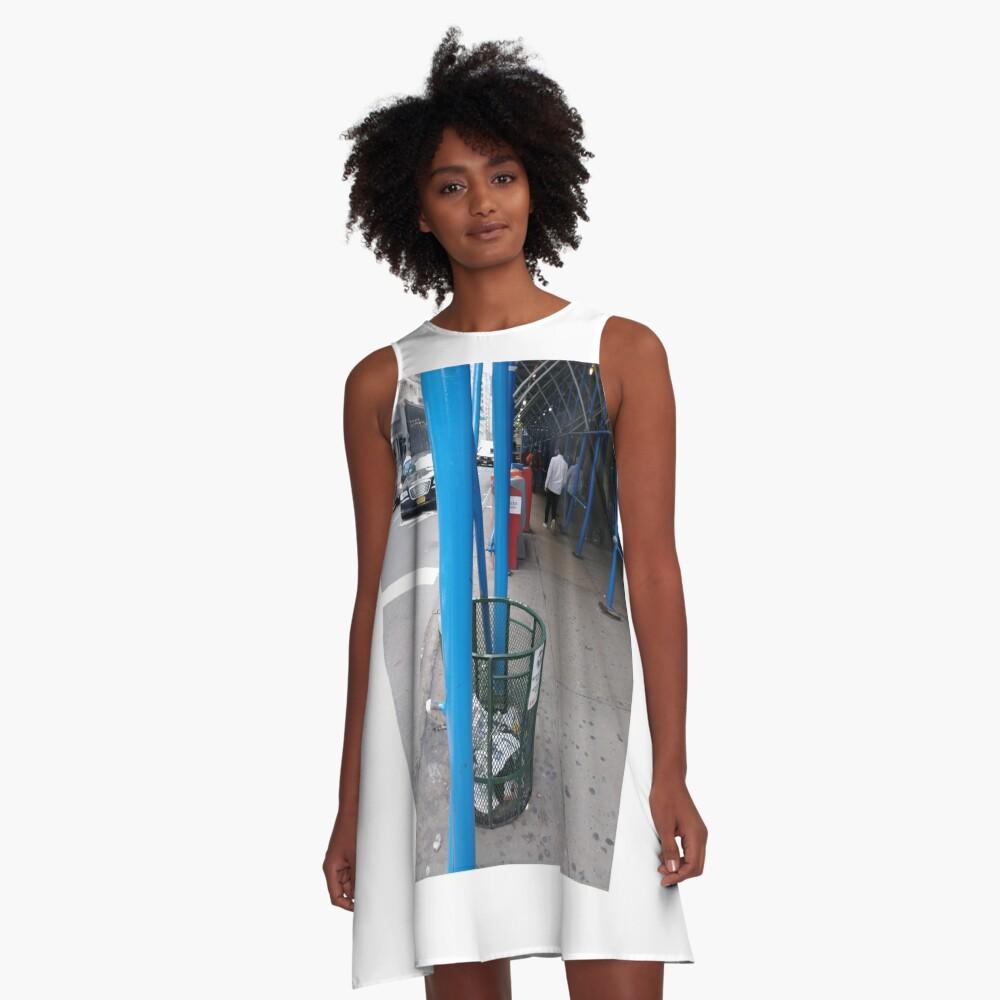 Curb, #Curb, #59Street #CityHall, pattern, design, tracery, weave, #pattern, #design, #tracery, #weave, New York, #NewYork, Manhattan, #Manhattan A-Line Dress