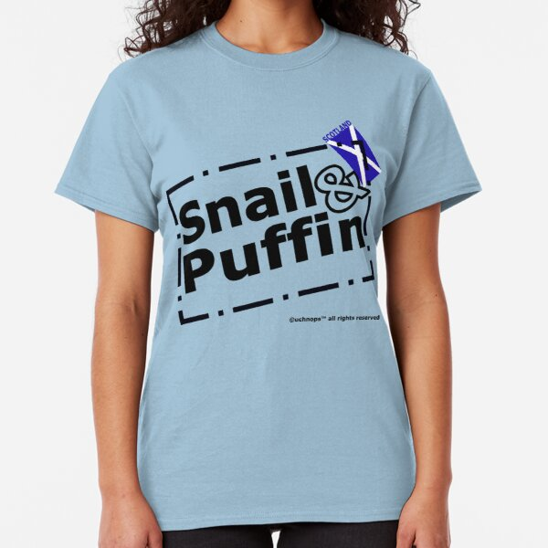 Snail and Puffin Scottish Flag Stamp Classic T-Shirt