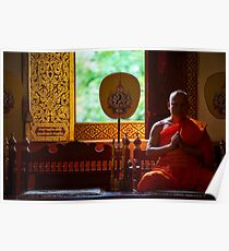Monk Praying in Temple - Chiang Mai, Thailand Poster
